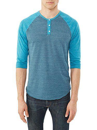 04e9a851 Alternative Mens Basic Eco-Jersey Raglan Henley Shirt X-Large Eco True  Mineral Blue