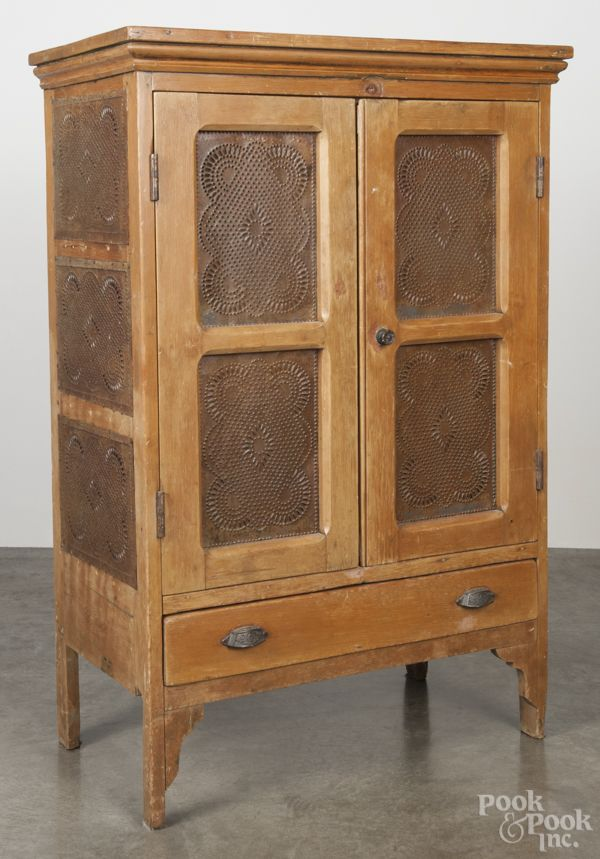 Pine Pie Safe, Late 19th C., With Punched Tin Panels, 52
