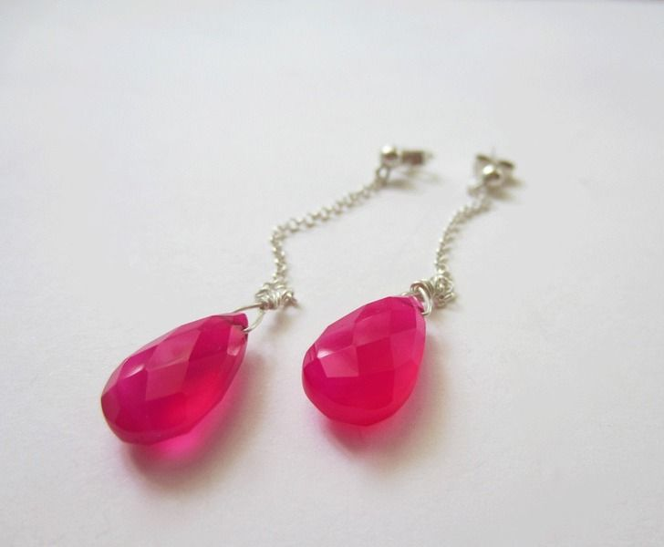 Hot pink jade earrings, perfect for a summer party