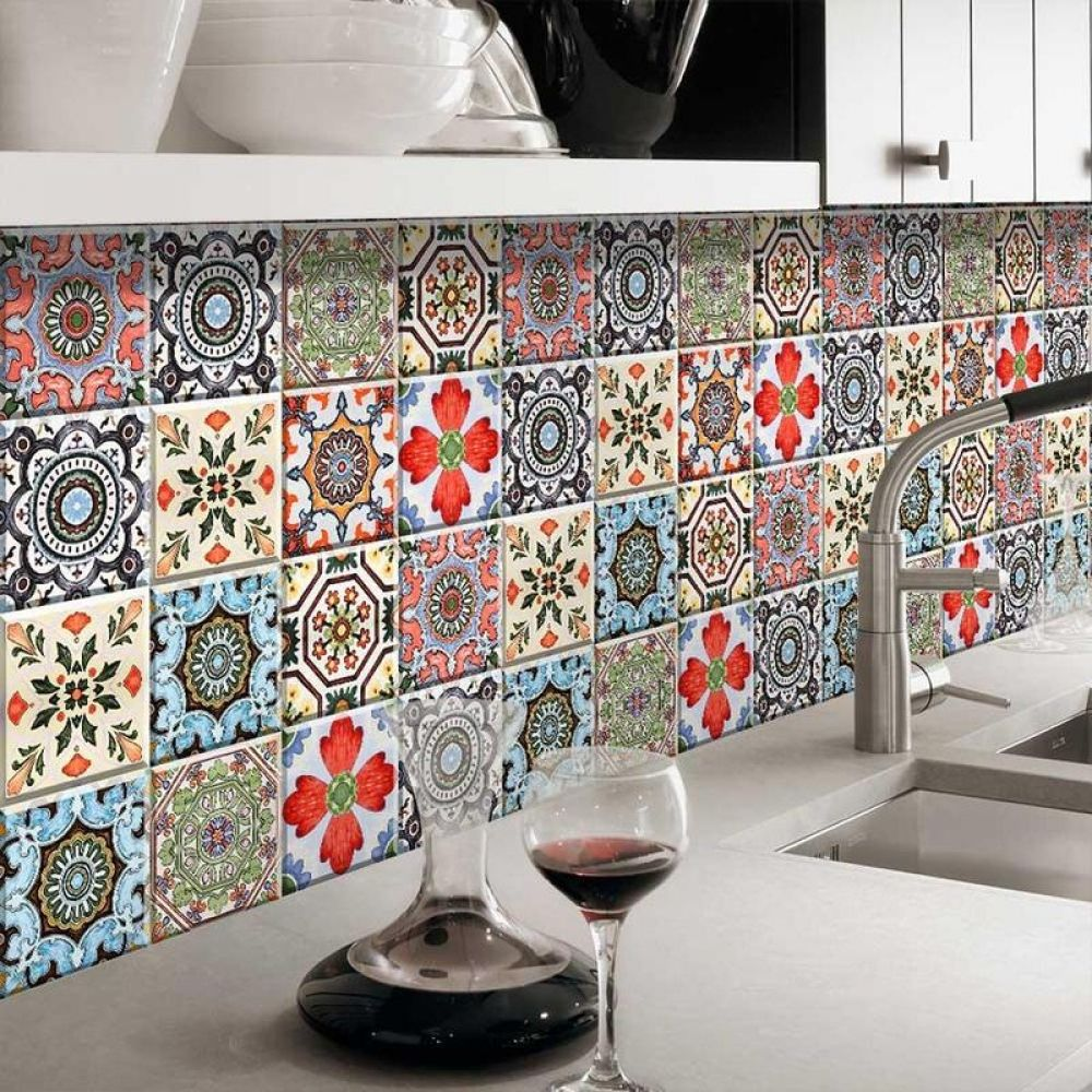 New Waterproof Bathroom Mosaic Tiles Vinyl Pvc Self Adhesive Wallpaper For Kitchen Countertop Wall Sticke Mosaic Tile Kitchen Kitchen Wallpaper Mosaic Bathroom