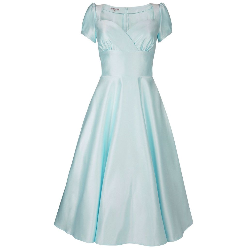 Powder Blue Bridesmaid Dresses | Dollydagger Vivien Powder Blue Satin 1950s Style Bridesmaids Dress