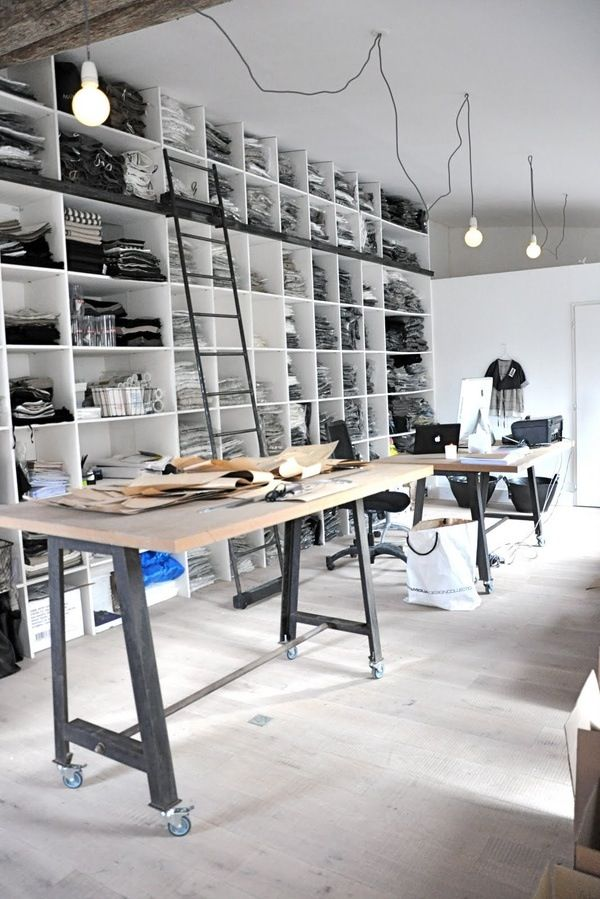 The Perfect Garage Turned Workspace Castors On The Legs Of Table A Great Design Studio Office Workspace Design Interior