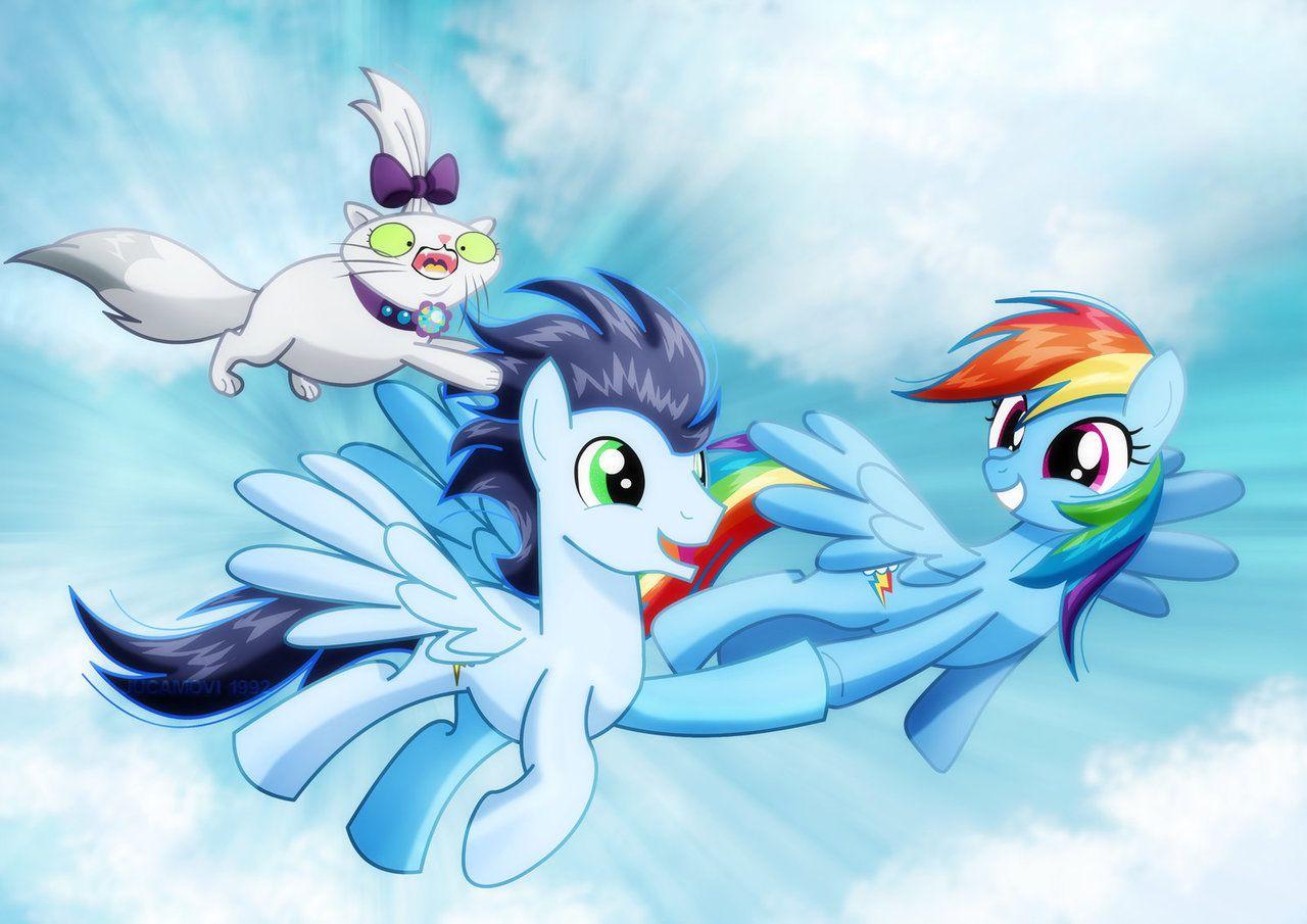 1855679 - artist:jucamovi1992, cat, female, flying, male, opalescence,  pegasus, pony, rainbow da… | My little pony wallpaper, Rainbow dash and  soarin, Rainbow dash