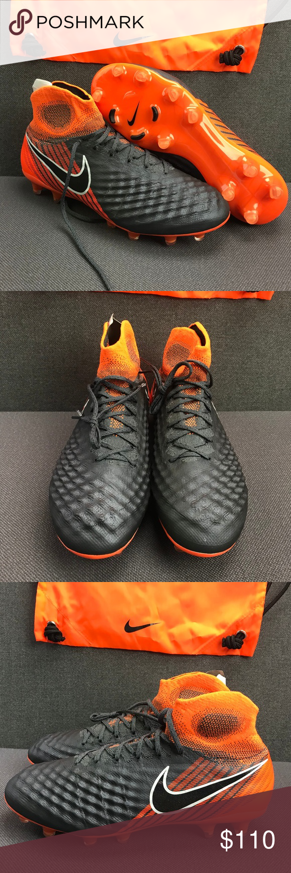 148181f0c1a Nike Magista Obra 2 Elite DF FG AH7301-080 Sz 8 Nike Magista Obra 2 Elite  DF FG AH7301-080 Dark Gray Total Orange Men s Size  8 NOTE  If it s not in  the ...