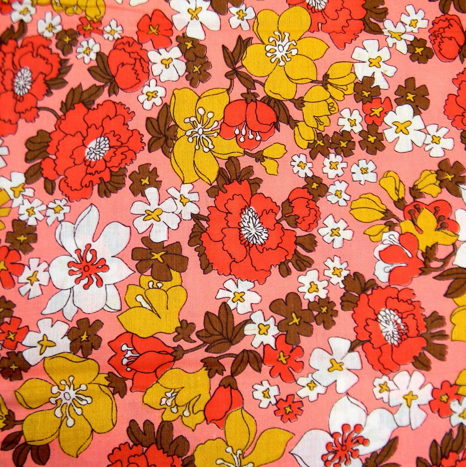 Pink Floral Fabric Vintage 1950s Lovely Springtime Retro