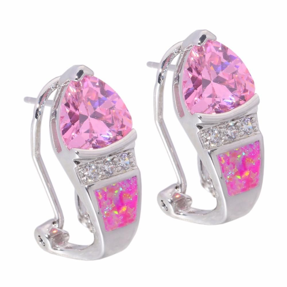 Created Pink Fire Opal Pink Zircon Cubic Zirconia Silver Plated ...