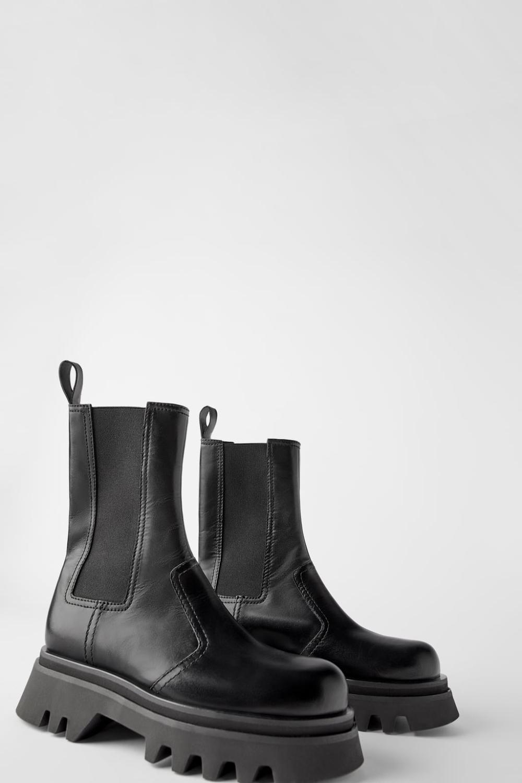 Skorzane Botki Z Podeszwa Na Traktorze Botki Buty Kobieta Zara Polska Zara Boots Chelsea Boots Style Boots