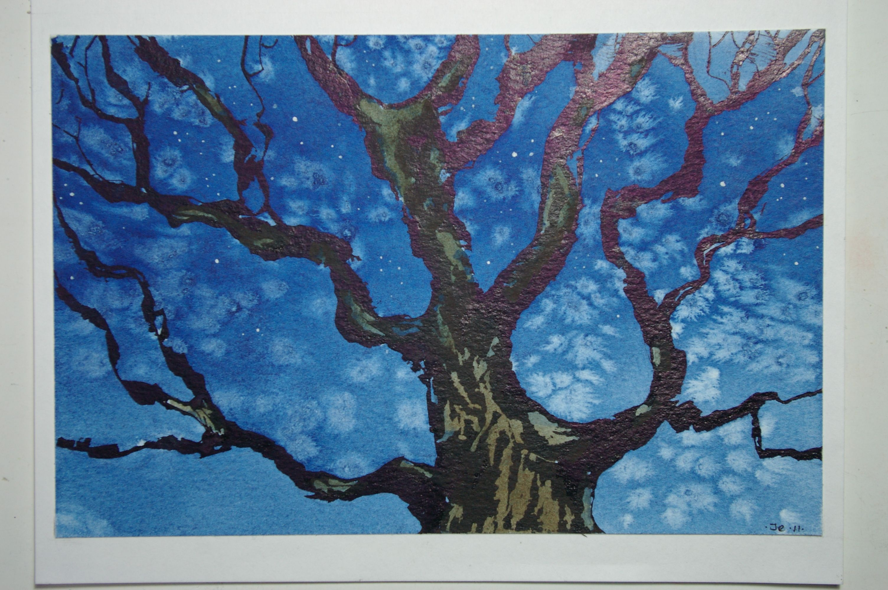 Ancient Oak, Wenlock Edge. Ink and watercolour.