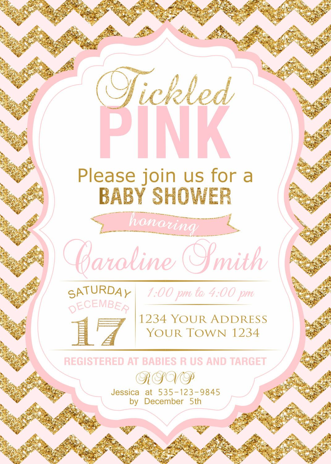 Baby Shower Invitations. Tickled Pink Baby Shower. Baby Girl. Gold ...