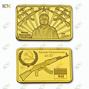 5pcs Gold Bar Gun King Kalashnikov AK-47 Craft Counter Strike Gold Souvenir Bars