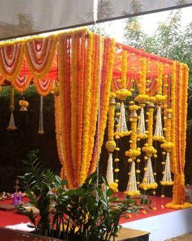 Marigold Flower Mandap Decor Wedding Stage Mandap And Altar