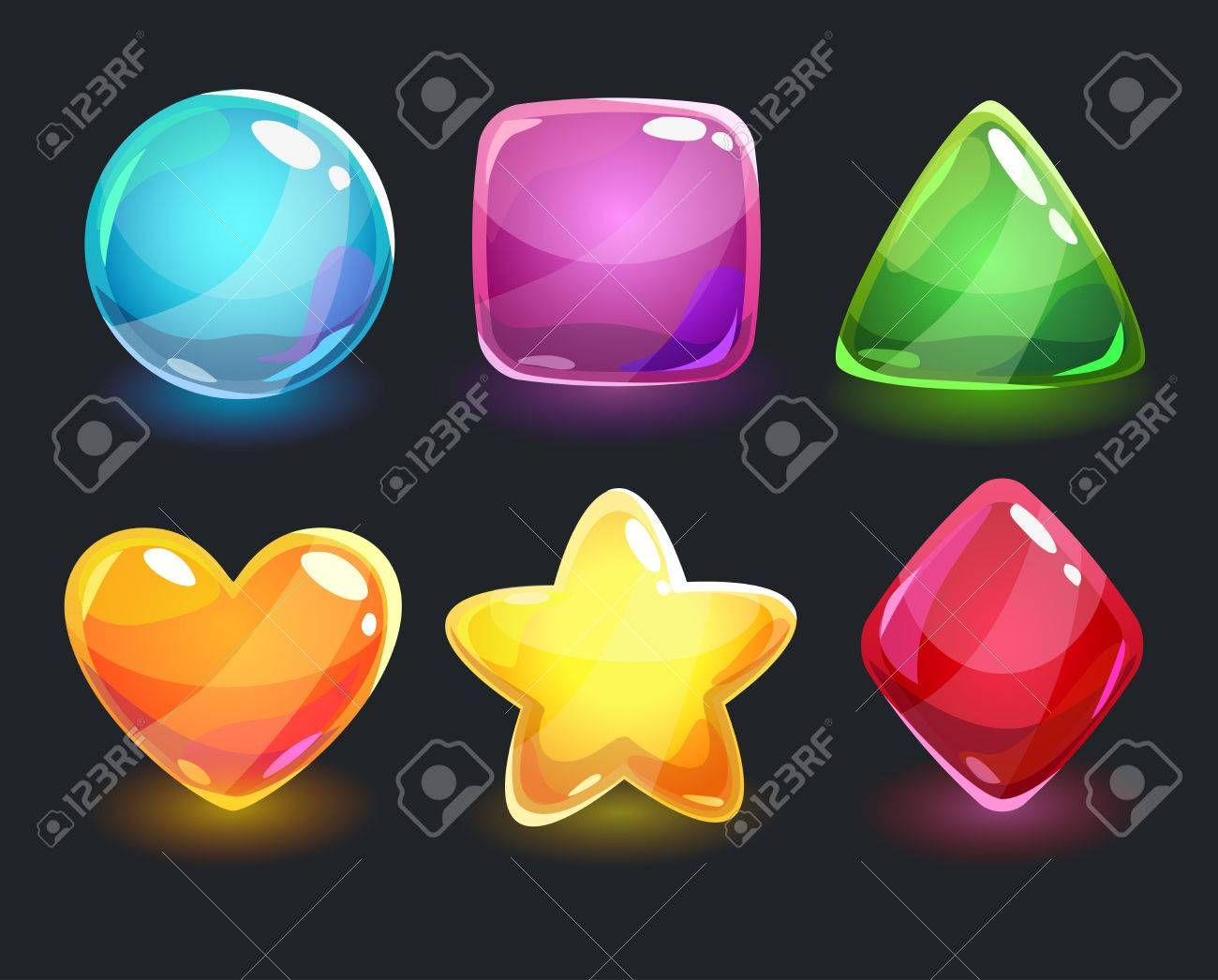 Cool shiny glossy colorful shapes, vector assets for gui design