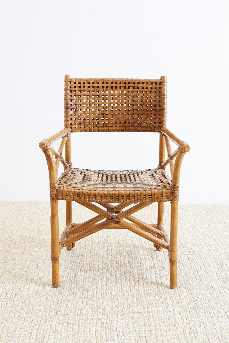 Organic Modern Mcguire Style Woven Leather Rattan Dining Chairs