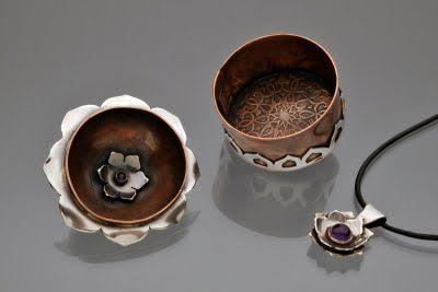 Dana Stenson Jewelry and Metalwork ~ detail of lidded lotus box