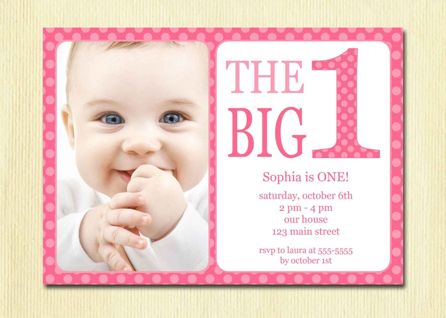 First Birthday Baby Girl Invitation DIY Photo Printable Custom – 1 Year Birthday Invitations