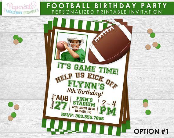 Football theme birthday party invitation green brown football theme birthday party invitation green brown personalized printable diy digital file filmwisefo