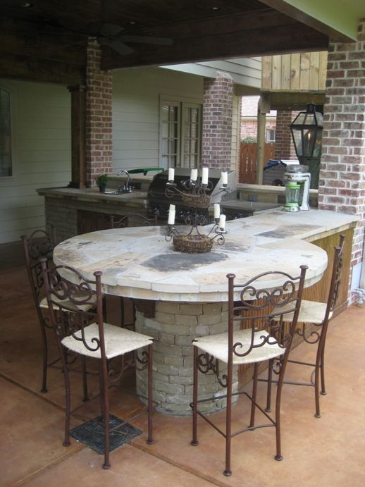 Ledgestone Outdoor Kitchen With Flagstone Counters And Table Top Project Included A Water Featu Outdoor Kitchen Patio Concrete Outdoor Kitchen Outdoor Kitchen