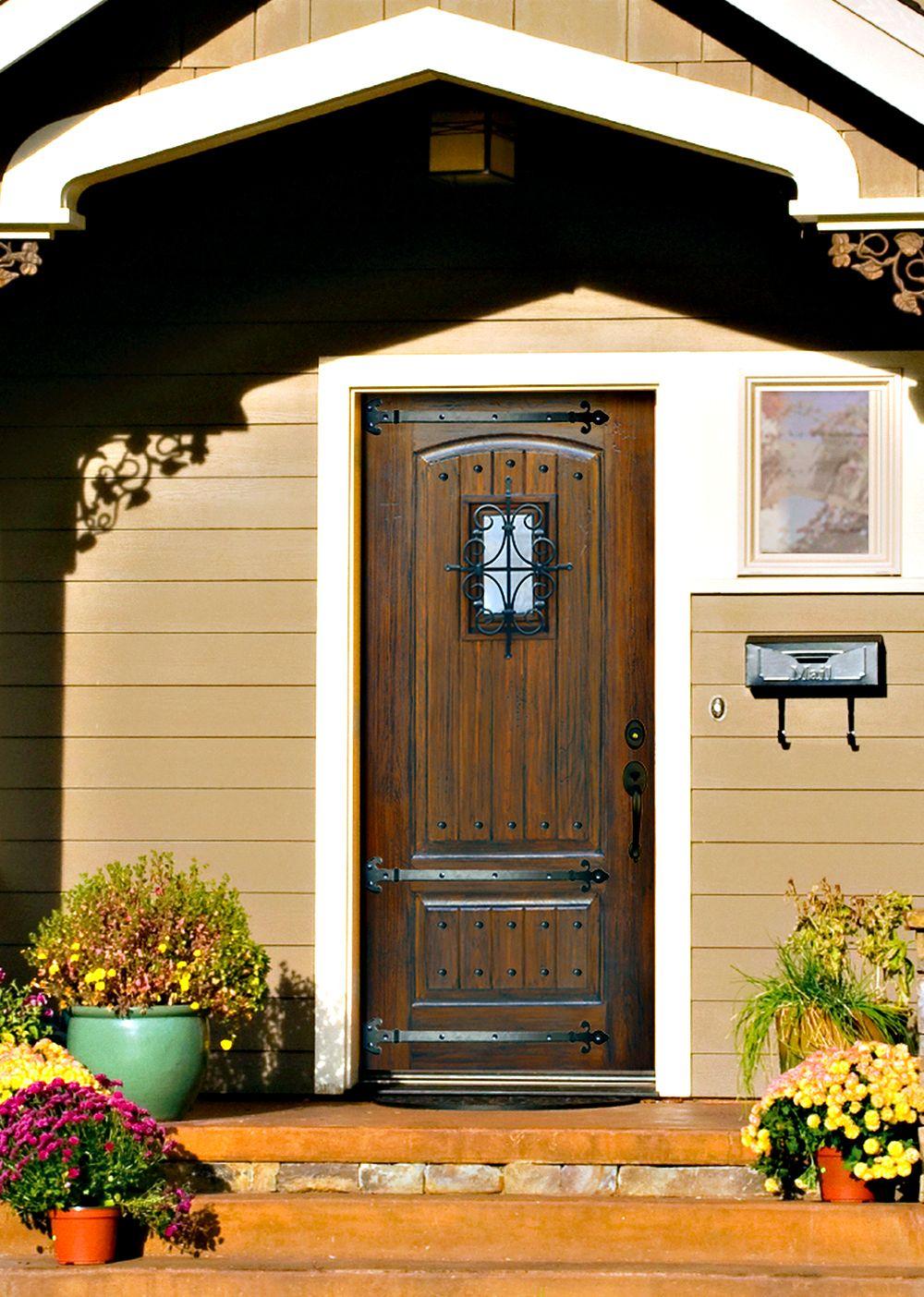 Premium fiberglass front door with florentine speakeasy and ...