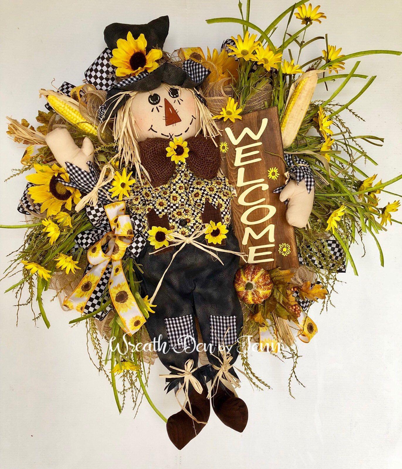 Scarecrow Wreath ~ Fall Wreath ~ Autumn Wreath ~ Fall