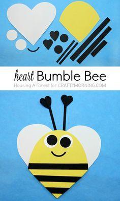 Heart Bee Valentine Day Craft for kids - Bee Mine!