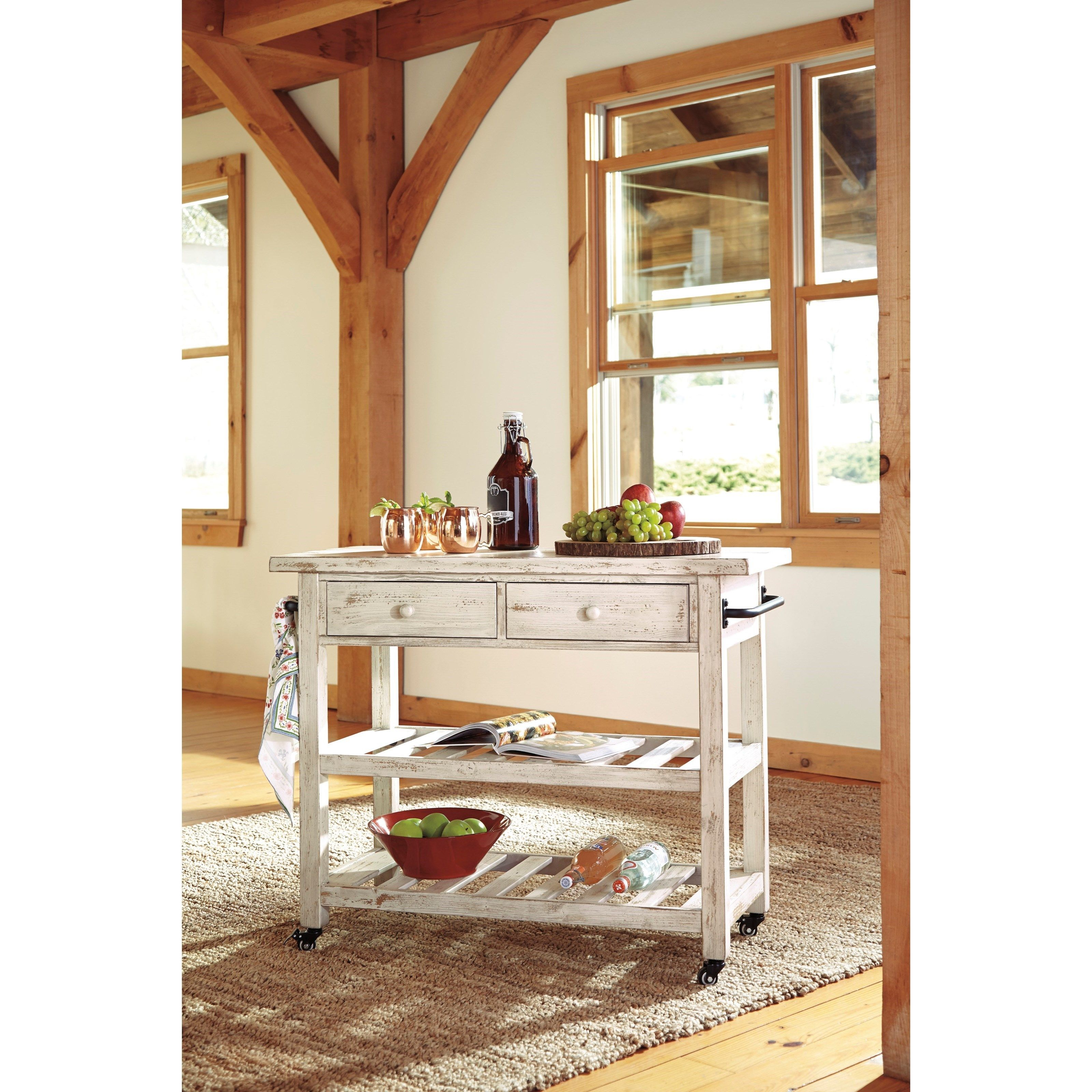 Distressed White Finish Kitchen Cart With Locking Casters. Available At  Rotmans In Worcester, MA