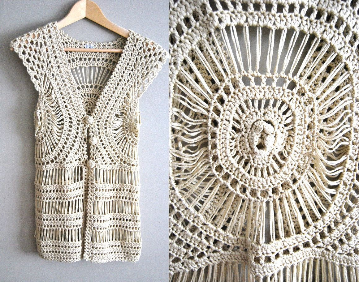 The Abby Top - Vintage 60s 70s Crochet Lace Boho Top Tank Vest ...