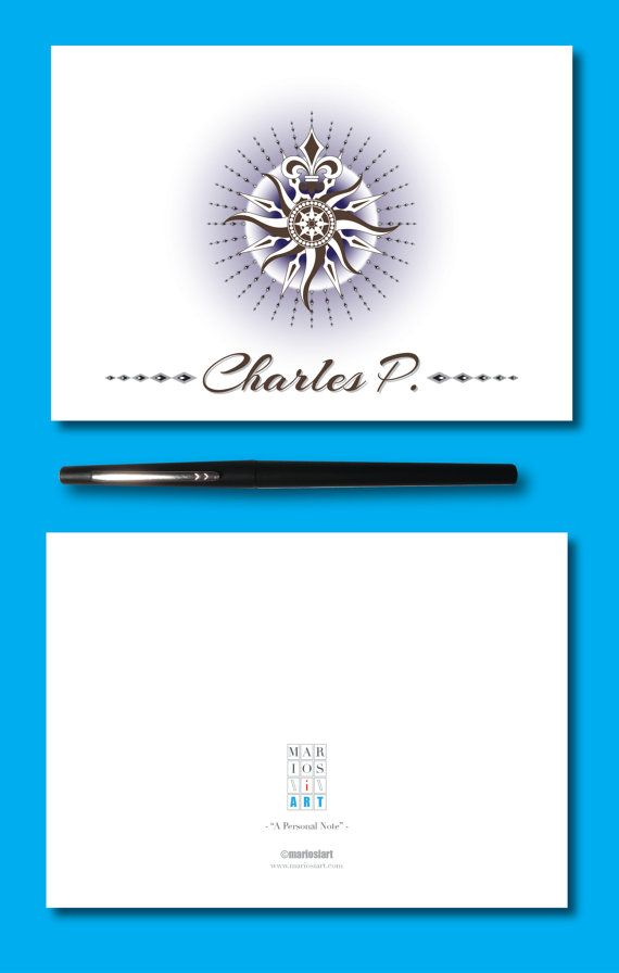 Personalized Fold Over Blank Note Card For Him Custom Mens
