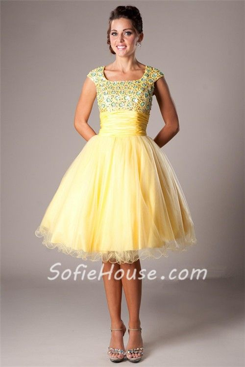 Modest Ball Square Neck Cap Sleeve Short Yellow Tulle Corset Prom ...