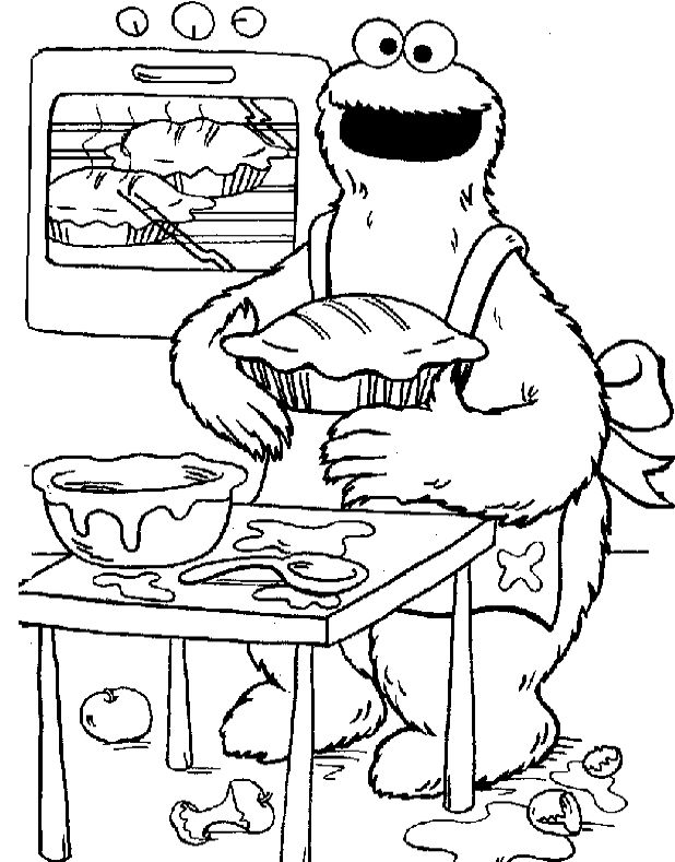 Cookie Monster Makes The Cake Coloring Pages Peteru0027s 1st BDay - copy elmo coloring pages birthday