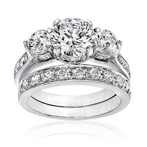 Round 2 0 Carat 14k Wedding Ring Set Cz Wedding Ring Sets Wedding Ring Sets Cubic Zirconia Wedding Bands