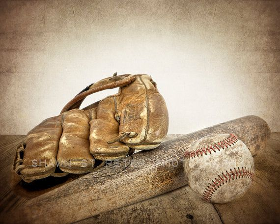 Vintage Baseball Bat And Glove Photo Print Decorating Ideas Wall Decor