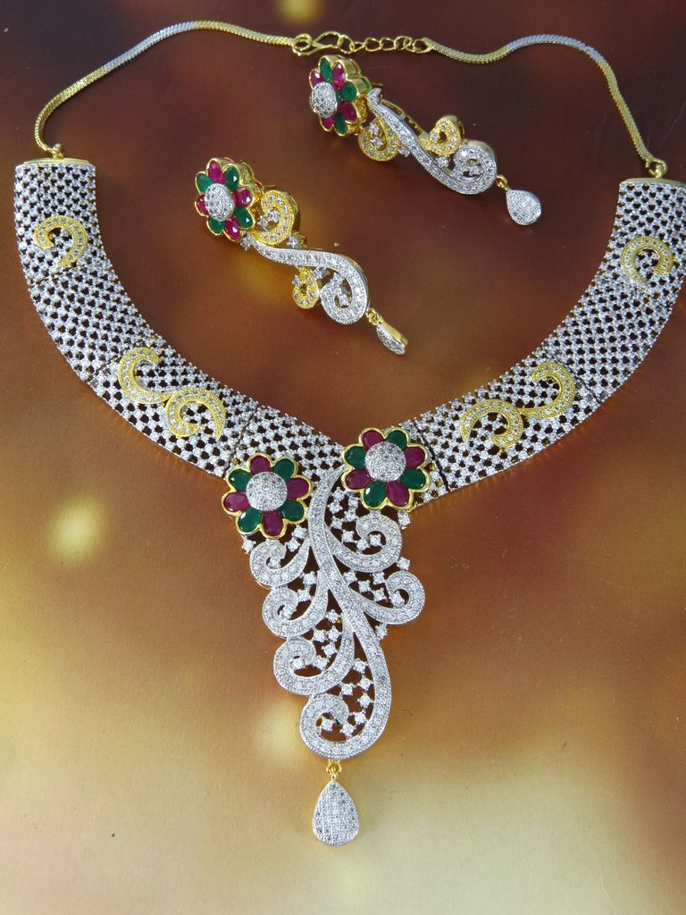 American Diamond Necklace Set Suppliers Online At Best Prices In India Quality Costume Jewelry Manufacturer And Exporter Latest Fashion Whole