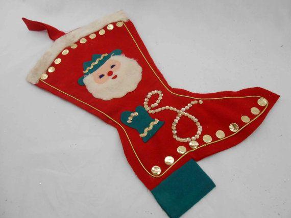 Sale Vintage Christmas Stocking Santa Cowboy Boot by ToBeJolly