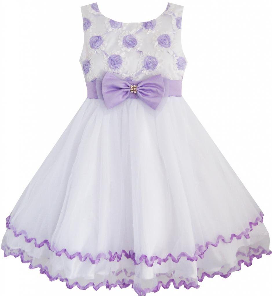 Little girl dresses for weddings  EE Sunny Fashion Little Girlsu Dress Purple Flower White Tulle