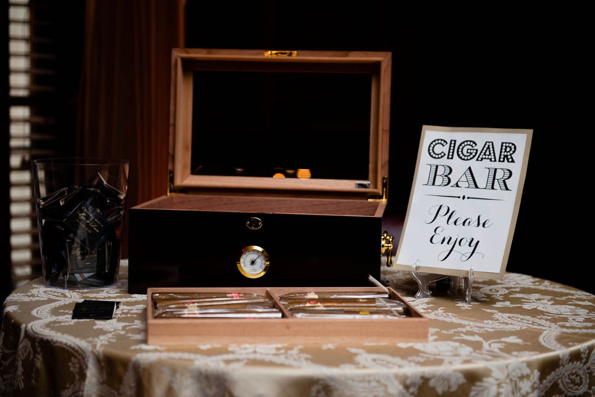 Cigar Humidor Filled With A Variety Of Cigars For Guests To Take