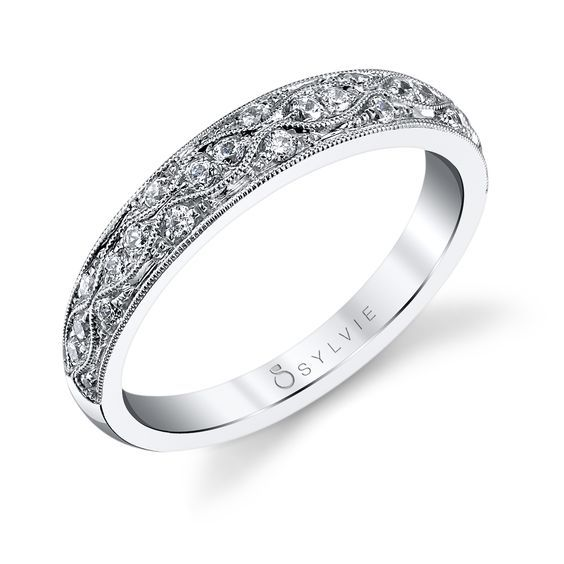 Intricate Diamond Wedding Band From Sylvie Collection Vintage Diamond Wedding Bands Diamond Wedding Bands Fancy Rings