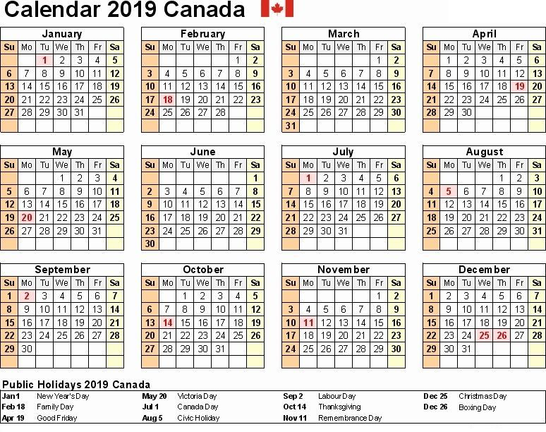 2019 Canada Printable Calendar Word Excel Pdf Holidays With