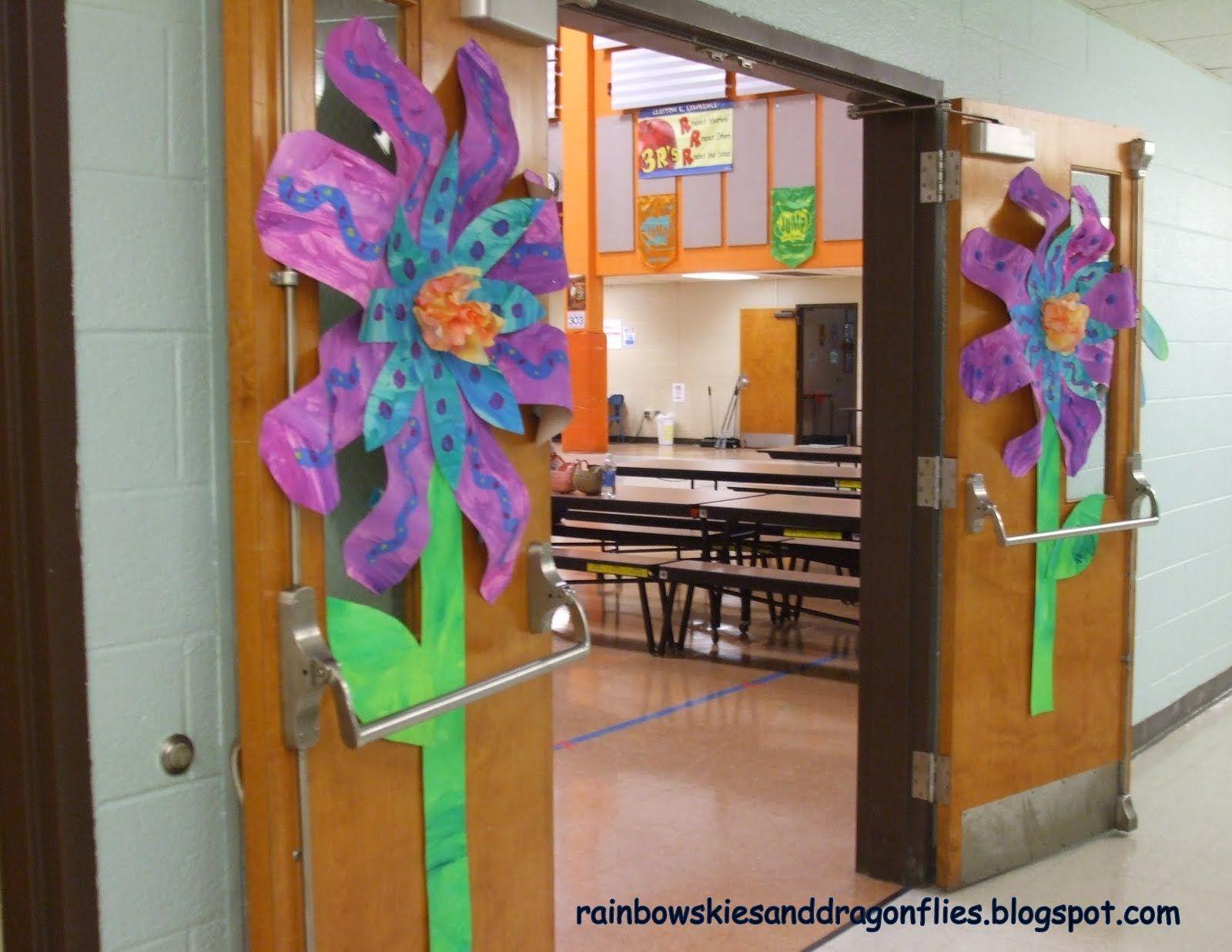 Rainbow skies u dragonflies giant flowers bulletin boards doors