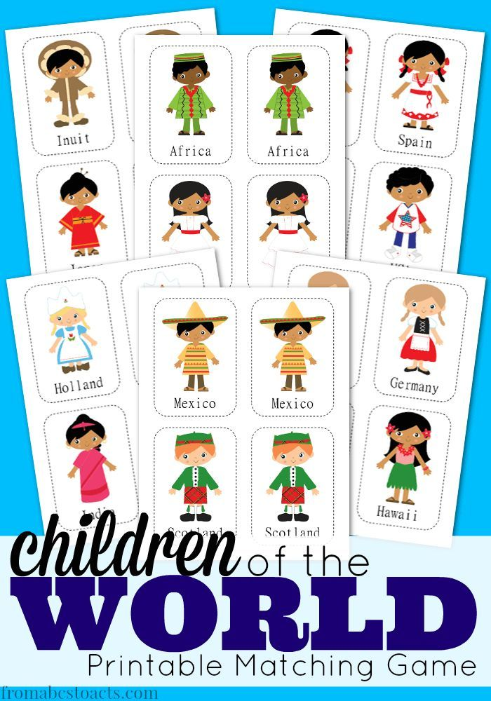 Children Of The World Printable Matching Game Multicultural
