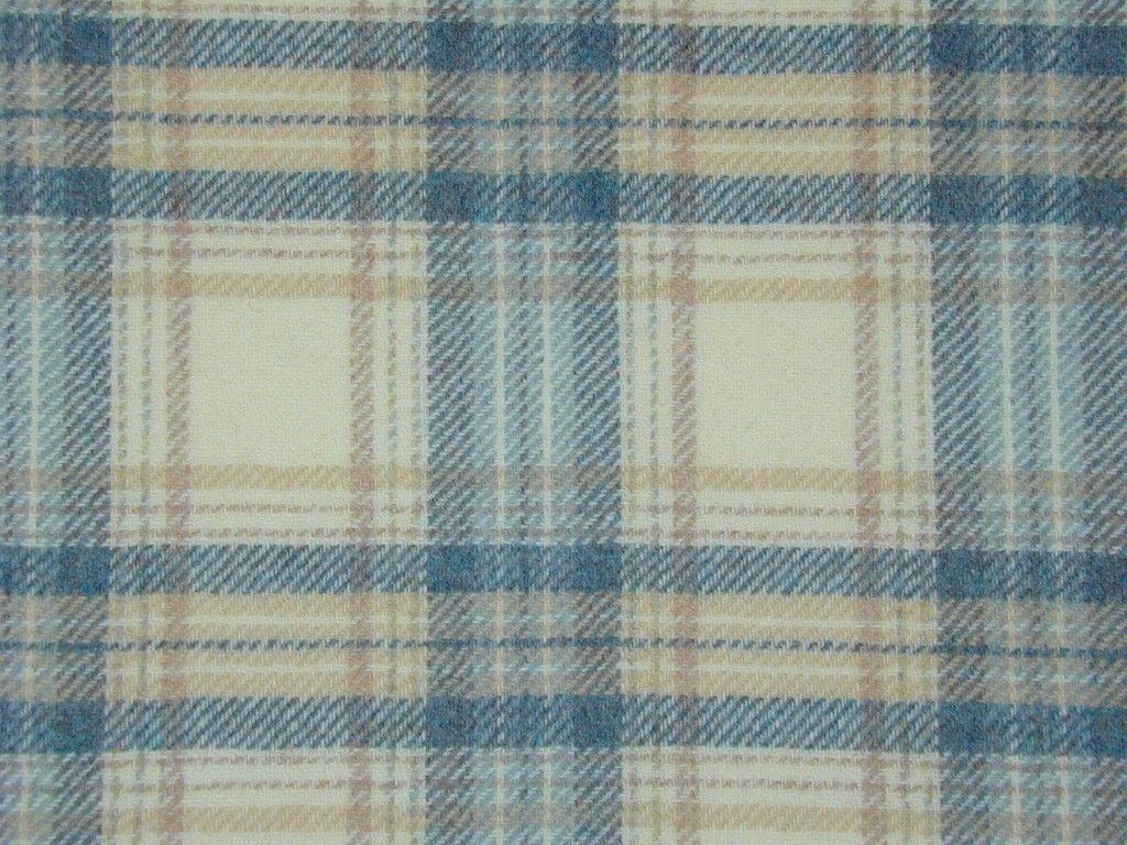 Highland Wool Tartan Check Ivory Sand Teal Curtain & Upholstery ...