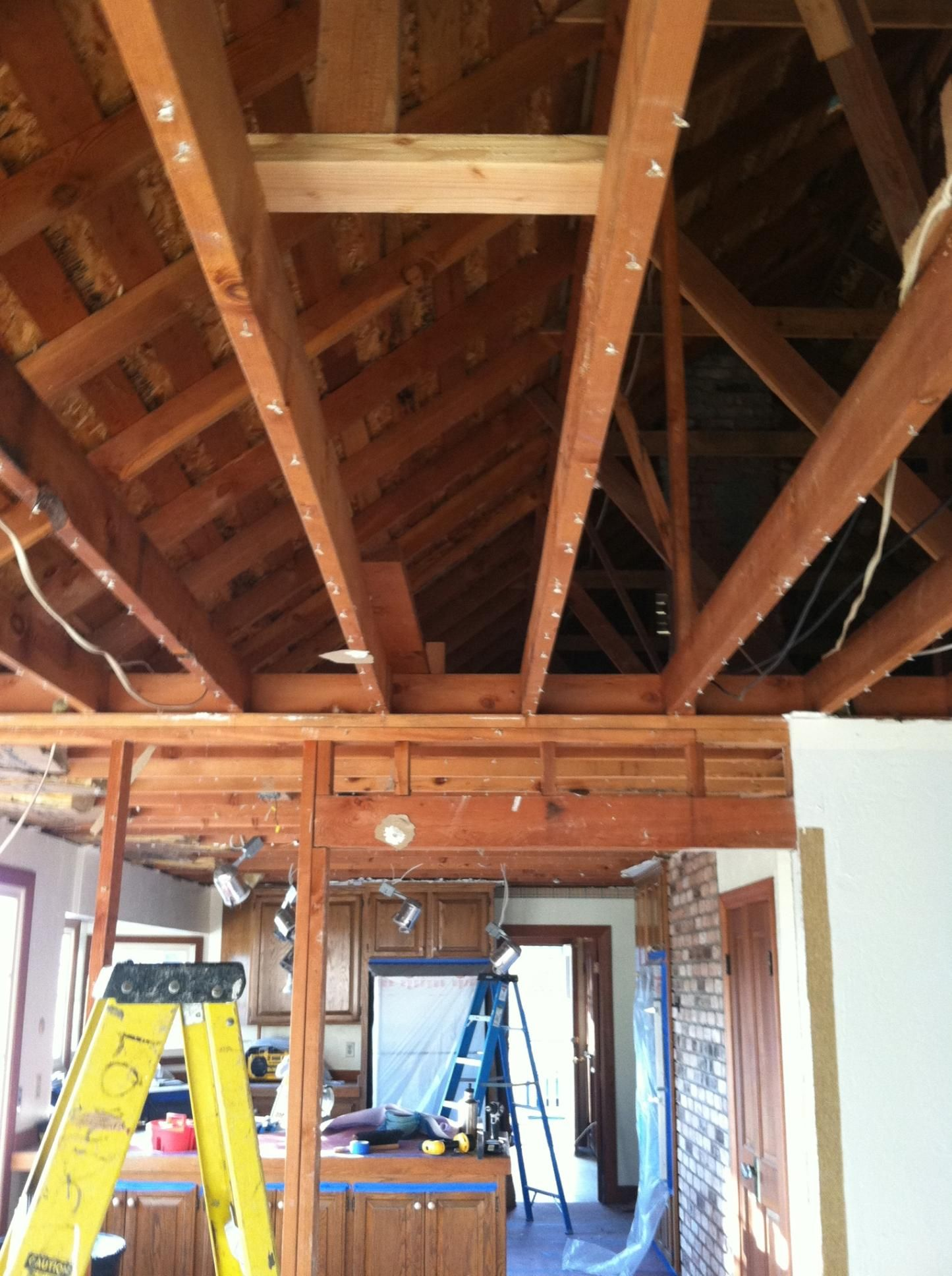 Day 1 Of Raising The Ceilings Original Ceiling Height Was 8 Feet Which Made The Rooms Feel Com Ceiling Height Remodeling Mobile Homes Open Living Room Design