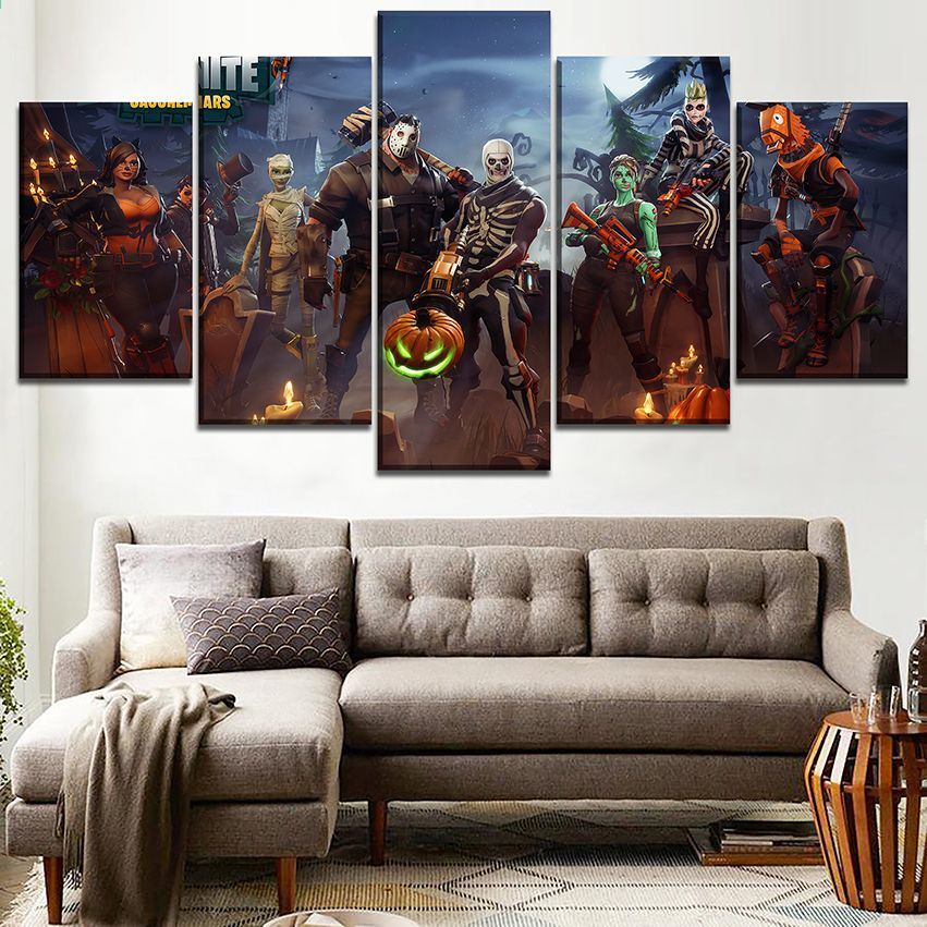 Attraktiv Wandkunst Leinwand HD Gedruckt 5 Stücke Fortnite Role Painting Spiel Poster  Für Moderne Wohnzimmer Decor Modularen