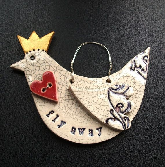 ceramic bird with heart and crown by dotterypottery on Etsy, £10.00