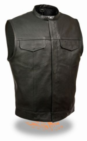 Milwaukee Mens Snap Collar Conceal Carry SOA Motorcycle Club Vest has solid sides being made of premium leather having one built in conceal carry weapon pocket with separate ammo holder and a snap closure collar for the most stylish look.