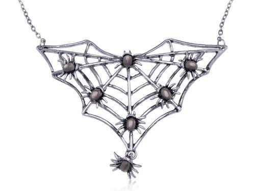 Gunmetal Tone Halloween Spider Insect Bug Family Web Crawl Collar Fun Necklace