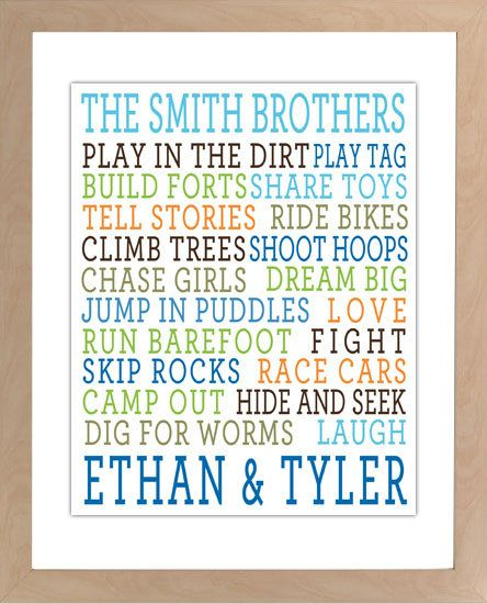 Brothers Wall Art Boys Room Decor Brothers Sign Boy by inktuitive ...