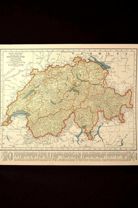 1930s Vintage Map Switzerland Original 1935 Switzerland