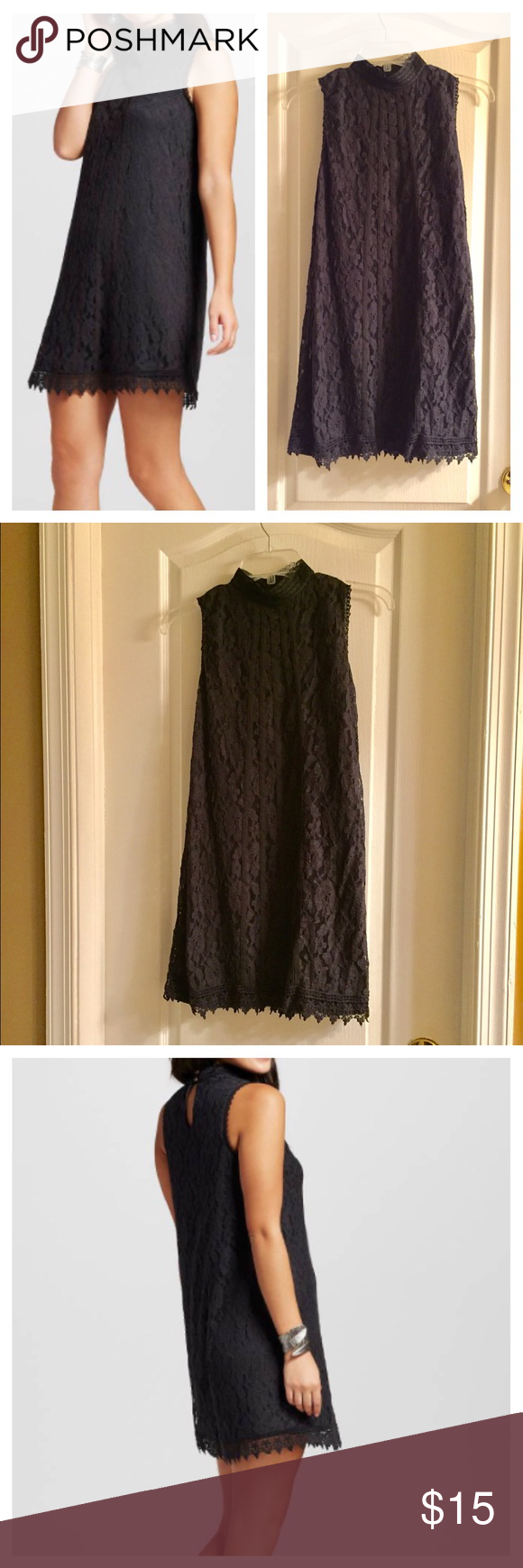Black Lace Mock Neck Shift Dress New! Only worn once! Beautiful and classy black lace dress, with mock neck. Pin hole button detail in back. Shift dress. Xhilaration Dresses Mini