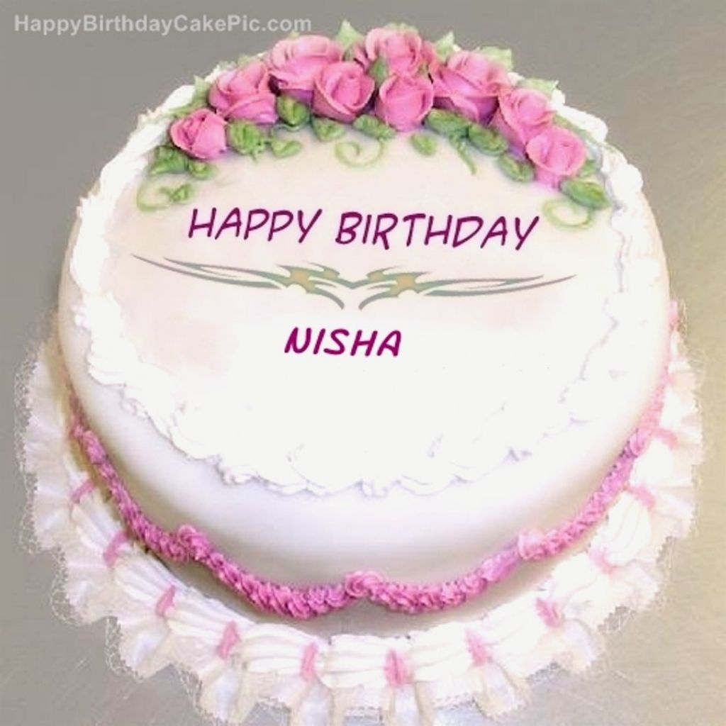 Wish Happy Birthday With Name Using Rose Cake Greetname