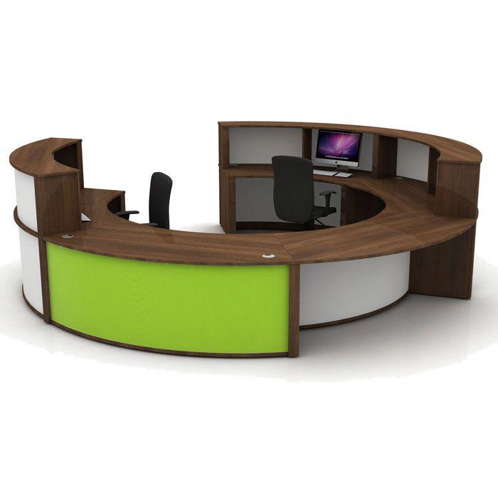 Round Office Desk Reception White
